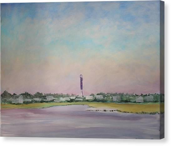 Light House On Causeway Canvas Print