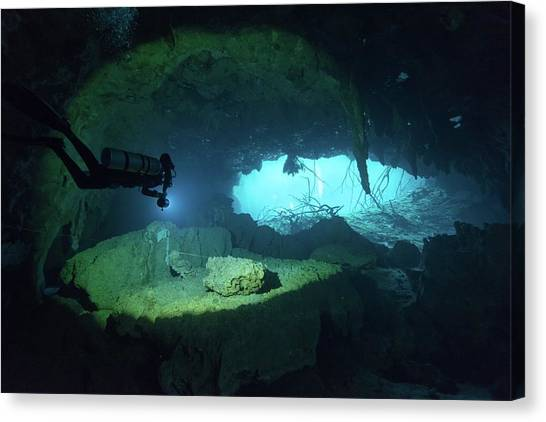 Underwater Caves Canvas Print - Light In The Underwater Cavern by Mario Chow
