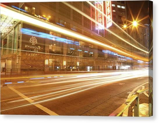 Hongkong Canvas Print - Light Line by Hyuntae Kim