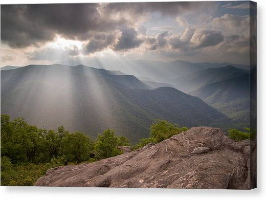 Pisgah National Forest Canvas Print - Light Rays At Sam's Knob by Derek Thornton