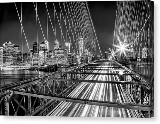 New York Skyline Canvas Print - Light Trails Of Manhattan by Az Jackson