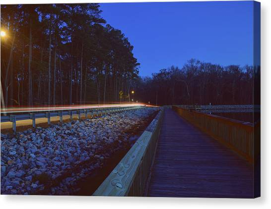 Light Trails On Elbow Road Canvas Print