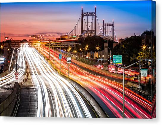 Light Trails On I-278 Near Triboro Bridge Canvas Print