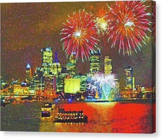 Canvas Print featuring the digital art Light Up Night In Pittsburgh by Digital Photographic Arts