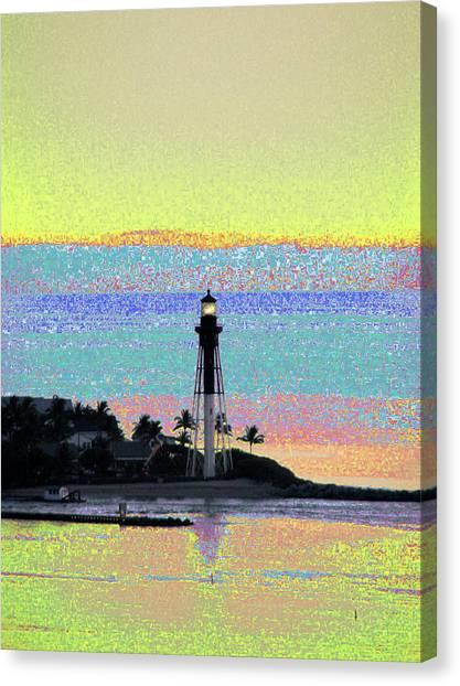 Luminous Florida Yellow At Hillsboro Lighthouse Canvas Print