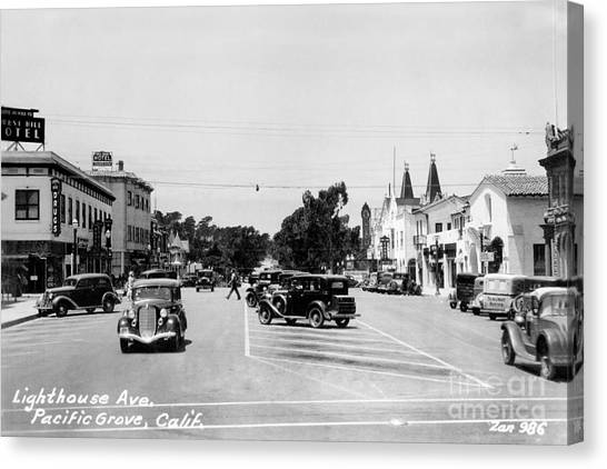 Lighthouse Avenue Downtown Pacific Grove, Calif. 1935  Canvas Print