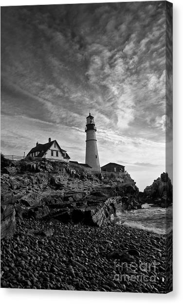 Lighthouse In Black And White Canvas Print