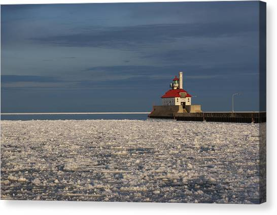 Lighthouse In Winter Canvas Print