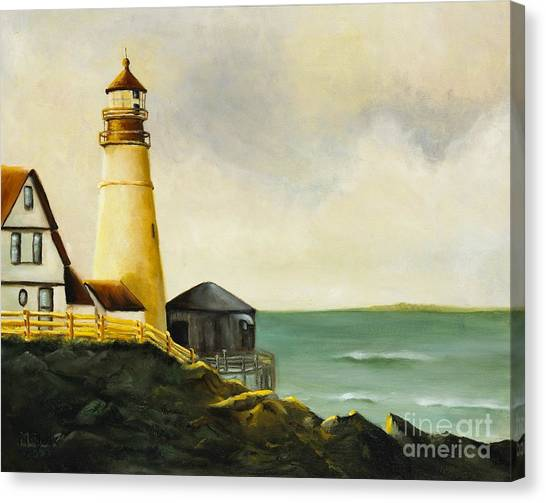 Lighthouse In Oil Canvas Print