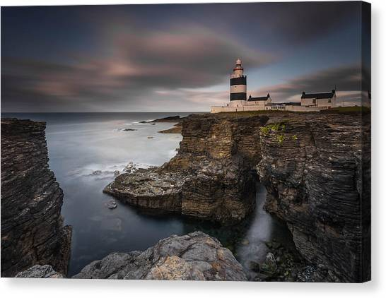 Cliff Canvas Print - Lighthouse On Cliffs by Grzegorz Wanowicz