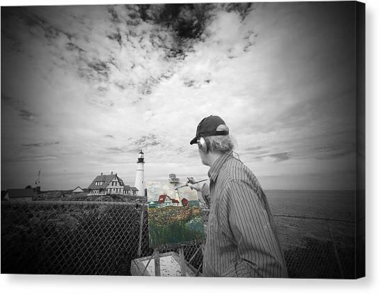 Lighthouse Painter Canvas Print