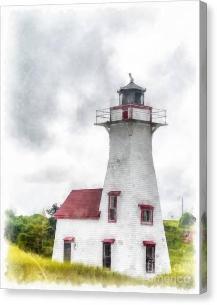 Prince Edward Island Canvas Print - Lighthouse Prince Edward Island Watercolor by Edward Fielding