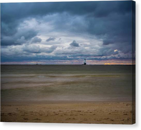 Lighthouse Under Brewing Clouds Canvas Print