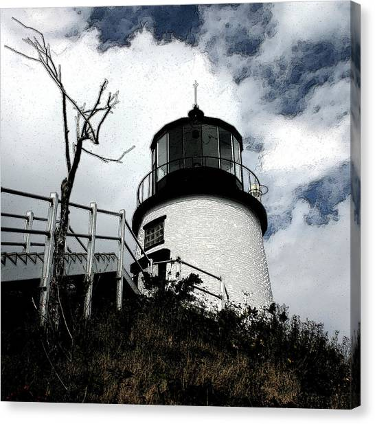 Lighthouse With Twist Canvas Print by Dennis Curry