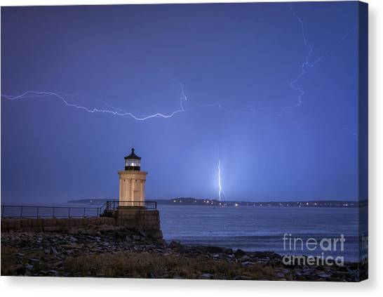 Portland Lighthouse Canvas Print - Lightning And The Lighthouse by Scott Thorp