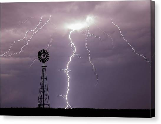 Lightning And Windmill -02 Canvas Print
