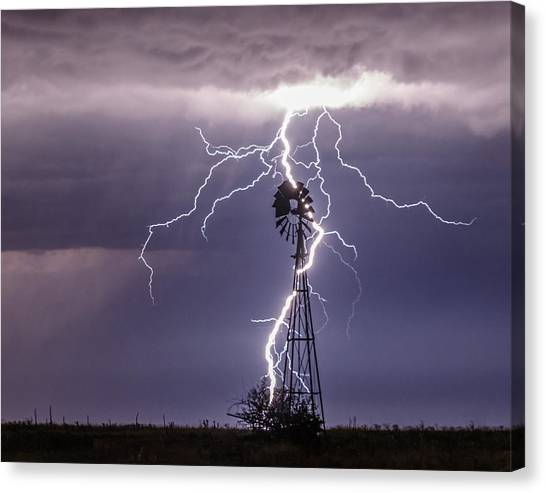 Lightning And Windmill Canvas Print