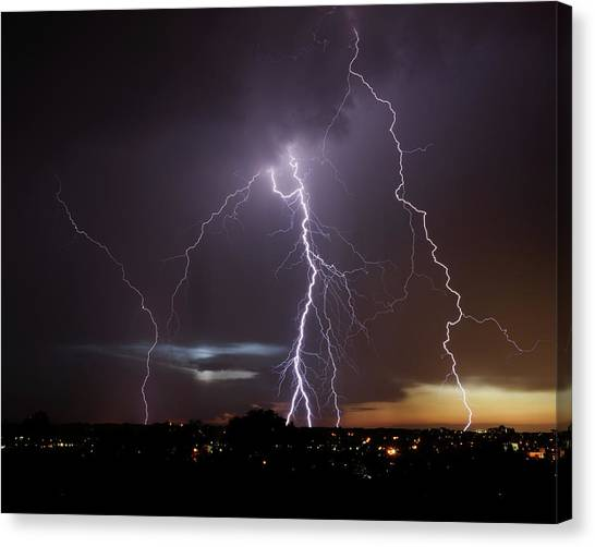 Lightning At Dusk Canvas Print