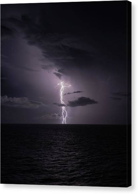 Canvas Print featuring the photograph Lightning At Sea I by William Dickman