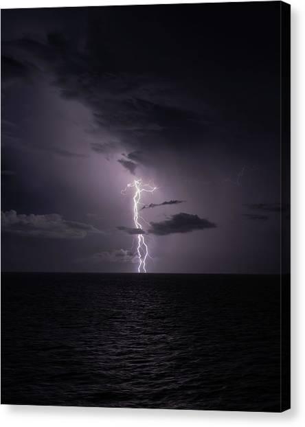 Lightning At Sea I Canvas Print