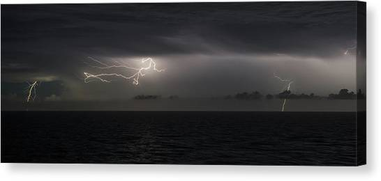 Canvas Print featuring the photograph Lightning At Sea II by William Dickman