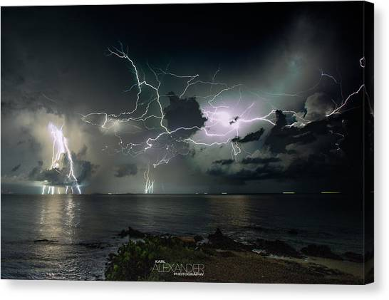 Lightning At The Bermuda Triangle Canvas Print by Karl Alexander