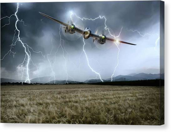 United States Army Air Corps Canvas Print - Lightning Encounter by Peter Chilelli