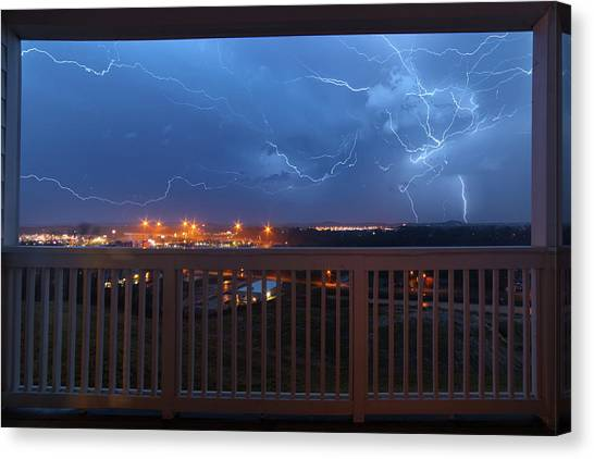 Lightning From The Balcony Canvas Print