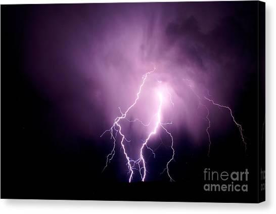 Lightning In The Desert Canvas Print