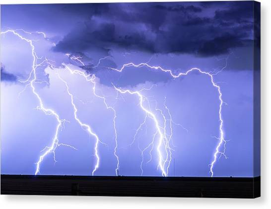 Lightning On The Plains Canvas Print