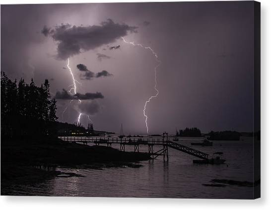 Lightning Over Boothbay Harbor Canvas Print