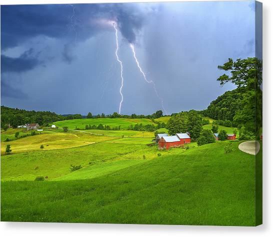 Lightning Storm Over Jenne Farm Canvas Print