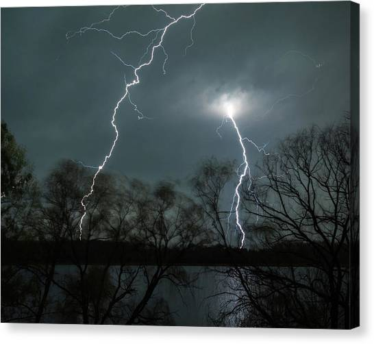 Lightning Over Little Sugarloaf Canvas Print