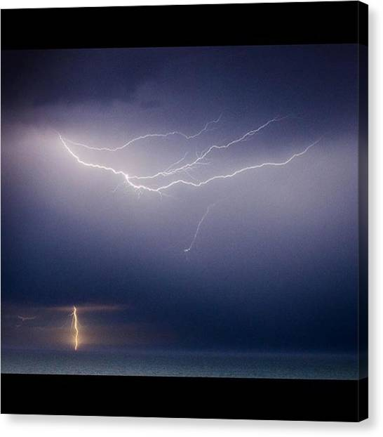Storms Canvas Print - Lightning Over The Atlantic Ocean by Alex Snay