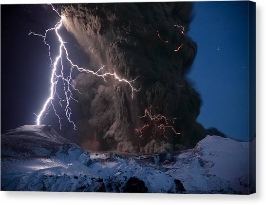 Eyjafjallajokull Canvas Print - Lightning Pierces The Erupting by Sigurdur H Stefnisson