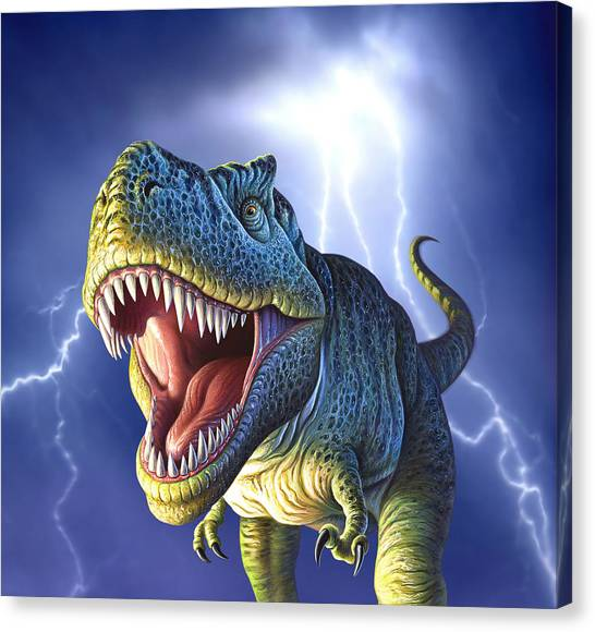 Teeth Canvas Print - Lightning Rex by Jerry LoFaro
