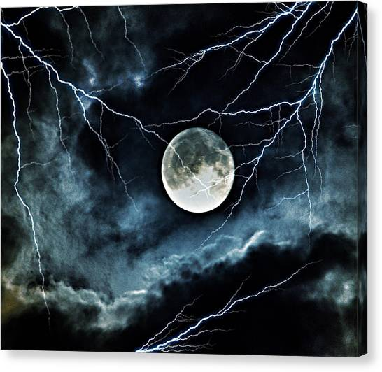 Lightning Sky At Full Moon Canvas Print