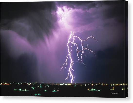 Lightning Storm Canvas Print by Leland D Howard