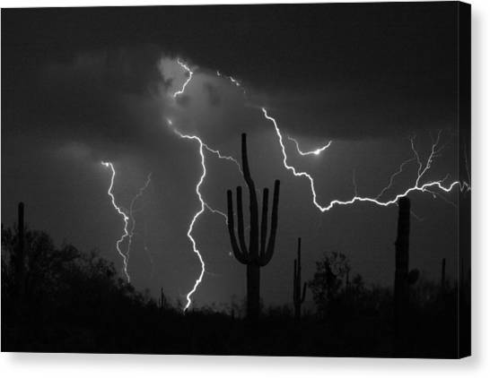 Lightning Storm Saguaro Fine Art Bw Photography Canvas Print