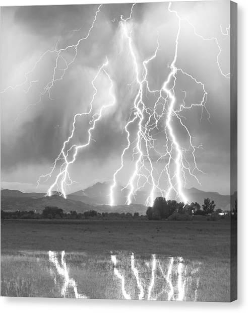 Lightning Striking Longs Peak Foothills 4cbw Canvas Print
