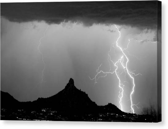City Landscape Canvas Print - Lightning Thunderstorm At Pinnacle Peak Bw by James BO  Insogna
