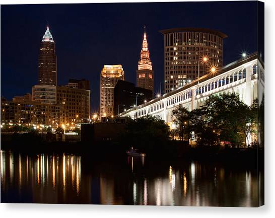 Lights In Cleveland Ohio Canvas Print