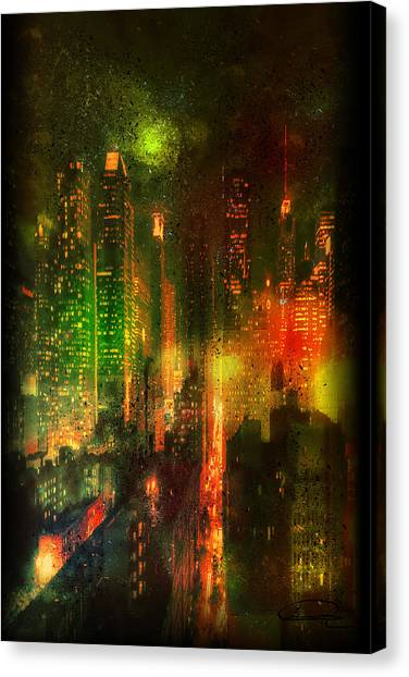 Lights In The City Canvas Print by Emma Alvarez