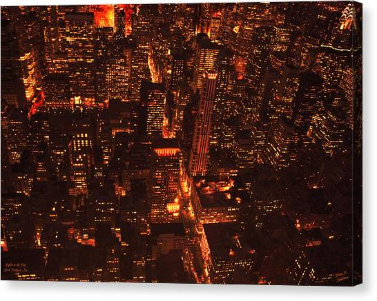 Lights In The City Look Pretty To Me Canvas Print by Diane C Nicholson