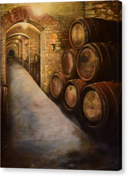 Lights In The Wine Cellar - Chateau Meichtry Vineyard Canvas Print