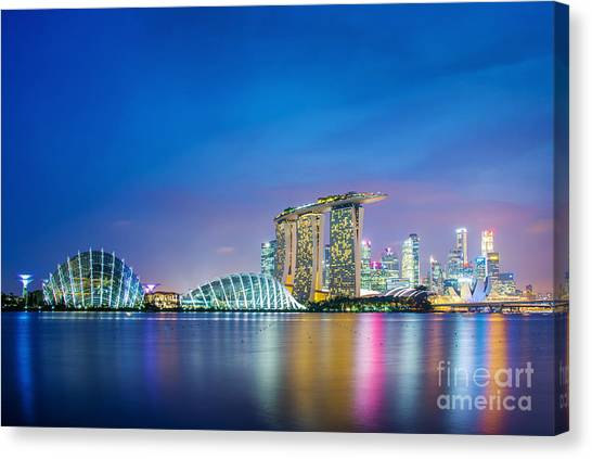 Singapore Skyline Canvas Print - Lights Of Singapore by Delphimages Photo Creations