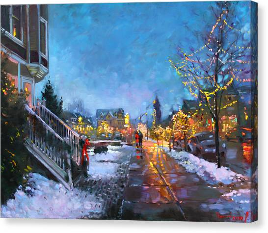 Christmas Lights Canvas Print - Lights On Elmwood Ave by Ylli Haruni