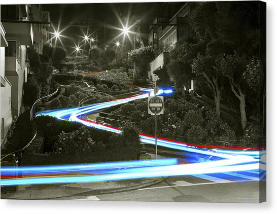 Lights On Lombard Black And White Canvas Print