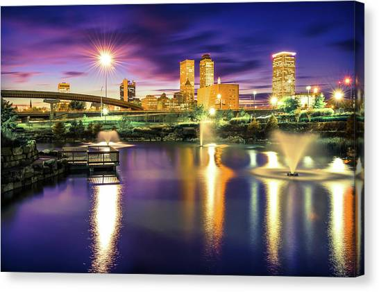 Centennial Canvas Print - Lights Over Downtown Tulsa Skyline by Gregory Ballos