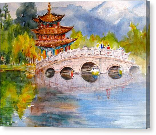 China Town Canvas Print - Lijian Old Town by Myra Evans